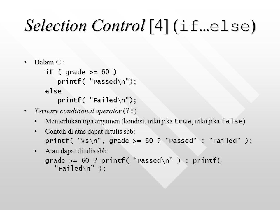 Selection Control [4] (if…else)
